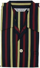 Derek Rose Romeo Mens Pyjama Set in Black with Red and Gold Stripes