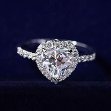 18K White Gold Plated Engagement Wedding Promise Ring, Heart Crystal 7mm R32