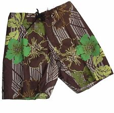 Boardies Board Shorts Sz 28 - 42 MENS Brown Tropical  Swim Surf Green White