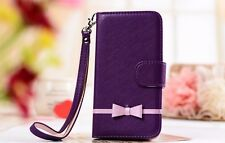 Sweet Bow Leather Wallet Case for iPhone 4S 5 5S Samsung S4 S5 N2 N3 +Stylus