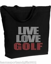 Rhinestone Live Love Golf Bling Zippered Tote Bag Shoulder Many Colors