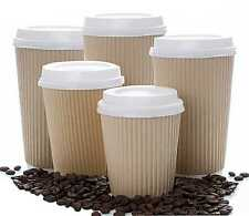 INSULATED RIPPLE HOT DRINKS PAPER CUPS 25, 50, 100 or 500 COFFEE DISPOSABLE LIDS
