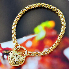 "9K Yellow Gold Filled Belcher Bracelet Solid Chain With Heart Locket ""Stamp 9K"""