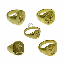 9ct Yellow Gold YOUR Family Crest Rings Oval Signet Rings 375 UK HM Solid