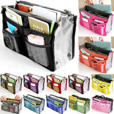 Portable Dual Bag In Bag Inner Storage Organizer Pouch Handbag Tote Insert Purse