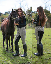 Full Leather Seat Breeches Colonial Check 4way Stretch For Riding New All Sizes