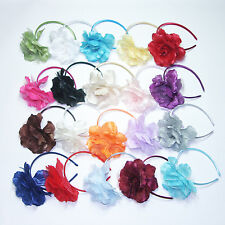 SATIN PETAL FLOWER HEADPIECE MATCH GIRL DRESS ANY OCCASSION ALL COLOR AVAILABLE