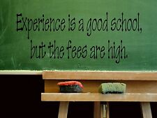 Wall Sticker EXPERIENCE IS A GOOD SCHOOL, BUT THE Quote Vinyl Decal EN-11-C4