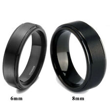 Solid Titanium Black Ring  Brushed Men's Wedding Band Comfort Fit 6mm/8mm