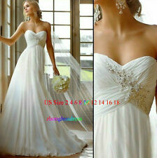New Stock White/Ivory Wedding Dress Bridal Gown US Size 2 4 6 8 10 12 14 16 18++
