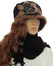 Ladies Rose Flower Fur Knitted Knt Fleece Lined Cloche Hat and Scarf Set Gift UK