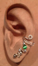 HANDMADE SS OR 14KGF WIRE WRAPPED EAR IVY HALF CUFF 4MM CAT'S EYE BEAD
