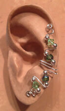 HANDMADE SS/14KGF WIRE WRAPPED EAR IVY FULL CUFF CATHEDRAL BEADS & AUST CRYSTALS