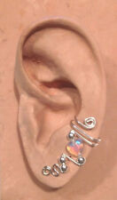 HANDMADE SS OR 14KGF WIRE WRAPPED EAR IVY HALF CUFF HEART SHAPED BEAD