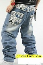 NEW Men Hip Hop ECKO Unltd Classical Pants Danceing Trousers Casual Wash Jeans#1