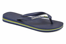 Havaianas Ladies H Brasil Logo Navy Blue / Black / White New Flip Flops Sandals