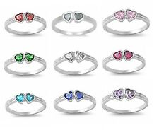 Kids Girls Twin Hearts CZ Birthstone Sterling Silver Ring - Choose Color / Size