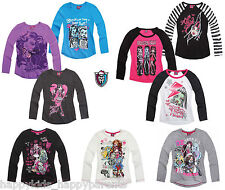 New Girls MONSTER HIGH Top T-Shirt LONG Sleeve 7 8 9 10 11 12 13 14 Yrs Design2