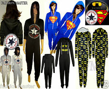 New Unisex Womens Ladies Converse Superman Batman Onesie Jumpsuit Hoody Top 8-18