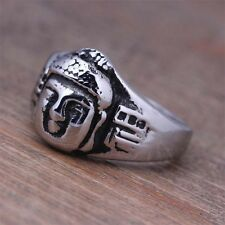 Stainless Steel Silver Mens Amulet Buddha Ring Jewelry D468 Size 8 9 10 11 12