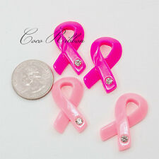 34mm 8~50pc Pink Rhinestone Breast Cancer Awareness Ribbon Resin Cabochons