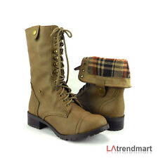 Military Combat Mid Calf Foldable Plaid Lace Up Women Boots Soda Oralee - Taupe