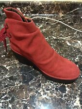"""Womens FLY LONDON """"yama"""" short ankle boot red suede with lace closure back"""