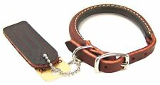 CIRCLE T Premium Heavy Duty Latigo Leather Rolled Round Dog Collar Made In USA