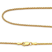14k Yellow Gold 2mm Franco Square Wheat Snake Chain  16, 18, 20, 22, 24 Inch