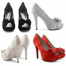 NEW WOMENS DIAMANTE BOW SATIN SANDALS PLATFORM PEEP TOE HIGH HEEL SHOES SIZE UK