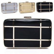 New Design Women Polyurethane Leather Clutch Evening Prom Party Bag Shoulder Box