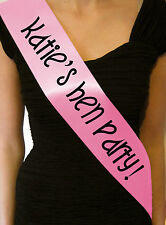 HEN PARTY SASHES PERSONALISED BABY PINK SASH NIGHT OUT DO BRIDE TO BE CHEAP NEW