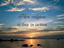 "Wall Sticker ""PURE RELIGION IS LOVE IN ACTION"" Quote Vinyl Decal SP-91-A1"