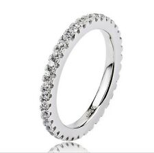 Micro Pave CZ Stackable Eternity Ring 925 Sterling Silver Crystal Ring GNJ0280