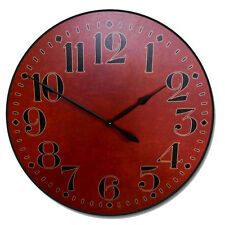 """Large wall clock, Houston Big Red Clock, 12""""- 48"""" Whisper Quiet, Non-Ticking"""