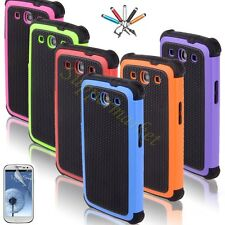 For Samsung Galaxy S3 III I9300 Black Rugged Rubber Matte Hard Case Cover Stylus