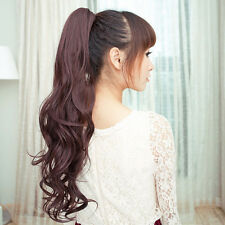 One Piece Women Hairpiece Girls' Long Curly Wavy Ponytail Hair Extension Clip in