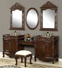 "86"" Double Bath Vanity Set with Makeup Counter, Seat, and Faucets - Alessa-87F"