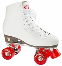Rookie Classic Junior/Adult Size Roller Quad Skates - White/Red Wheels