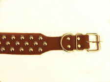 "Brand New Three-Ply Fully Rivet Studded Dog Leather Collar 19""-22"" Medium"