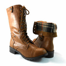 Military Combat Mid Calf Foldable Plaid Lace Up Women Boots Soda Oralee - Tan Pu