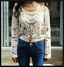 FREE GIFT ~Vtg HIPPIE Boho Embroidery Floral Lace Crochet Jacket Dress Top Tunic