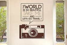 The World Beautiful Take Me Travel Wall Stickers Decal Art Quotes