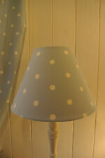 Shabby Chic coolie lampshade Clarke and Clarke light blue polka dot fabric