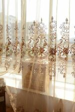 Custom Made French Country Provincial Embroidered Floral Sheer Curtain Panel