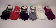 Gloves, Isotoner winter knit wrist, snowflake design, Microluxe lining, one size
