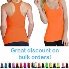 Womens Sport Tank Top Gym A-Shirt Sleeveles Ribbed Racerback Size XS S M Large