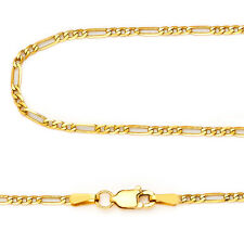 14k Yellow Gold 2.6mm Italy Figaro Link Chain Necklace 16, 18, 20, 22, 24 Inch