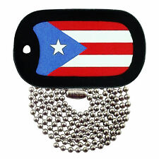 Military Dog Tag Necklace -  Puerto Rican Flag Dog Tag with a Dog Tag Silencer