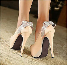 Sparkly Crystal Bows Party Super High Heels Women's Wedding Shoes # 2 colors